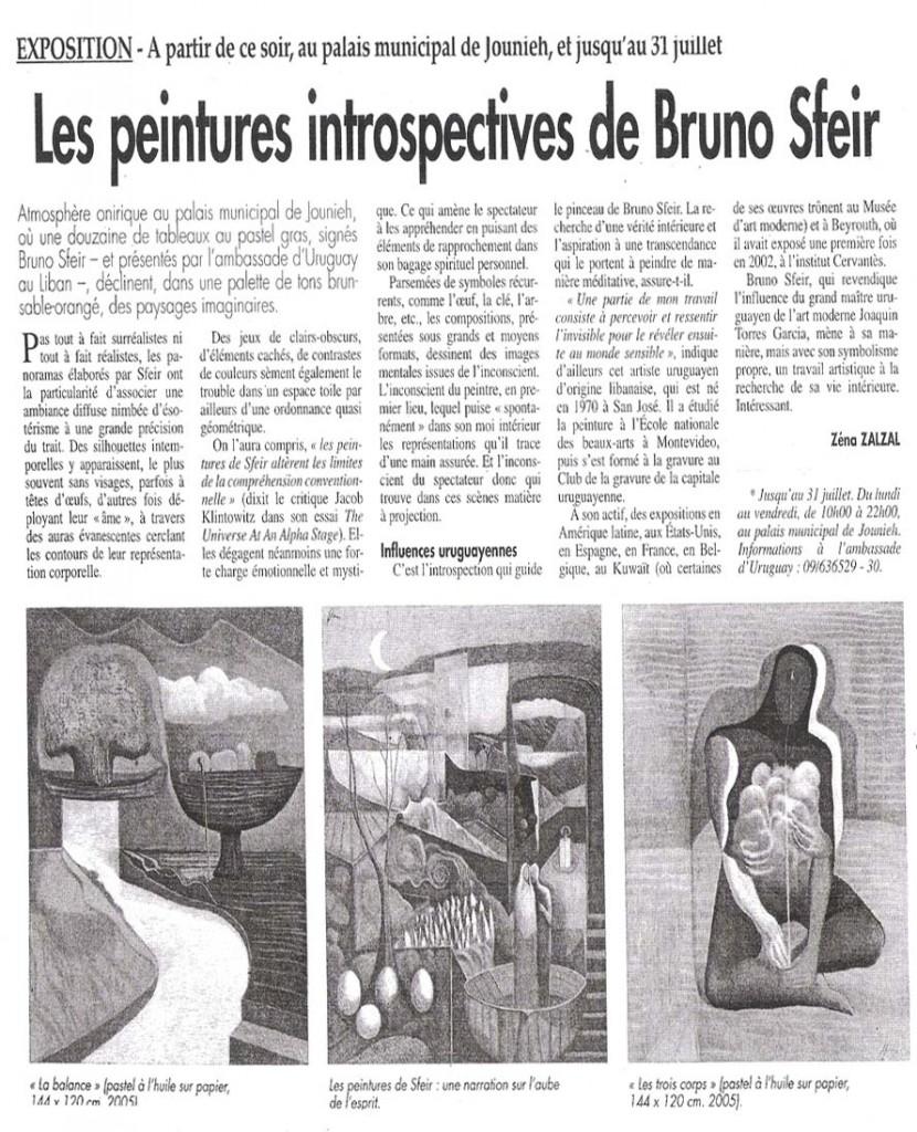 L'Orient Le Jour- critica sobre expos. en El Palacio Municipal de Jounieh- Libano.